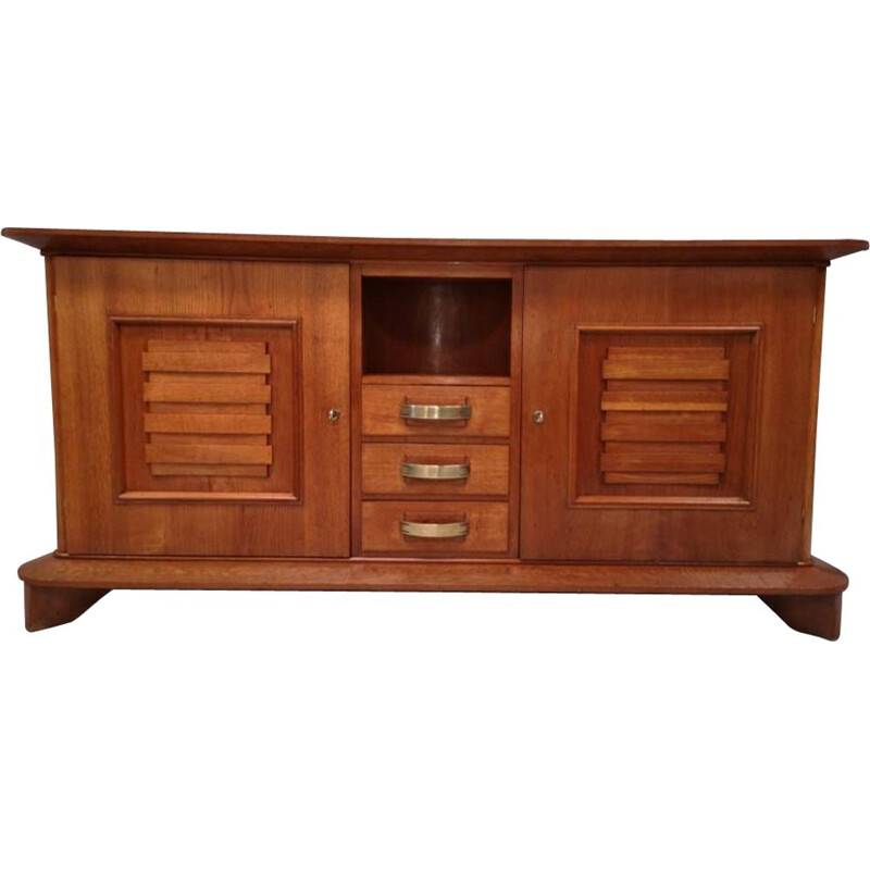 Vintage art deco chest of drawers in solid oak by Jean Royère, France 1940