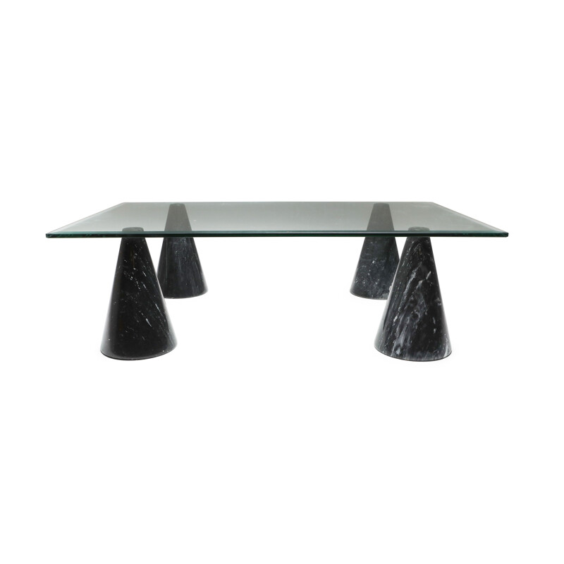 Vintage Marble and Glass Coffee Table in the Style of Massimo Vignelli 1970s