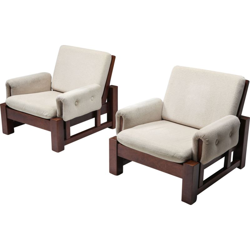 Pair of Mid-century solid Mahogany pair of club chairs 1960s