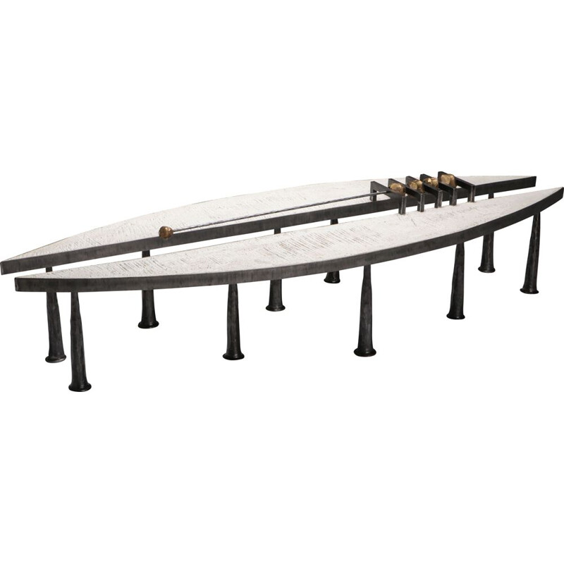 Vintage Coffee Table Thomas Serruys Metal & Stone 2019