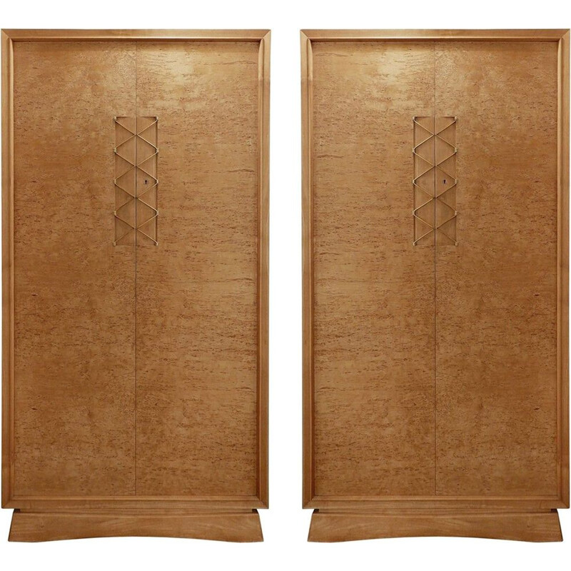 Pair Of Vintage Wardrobes In Wood And Brass Ornaments