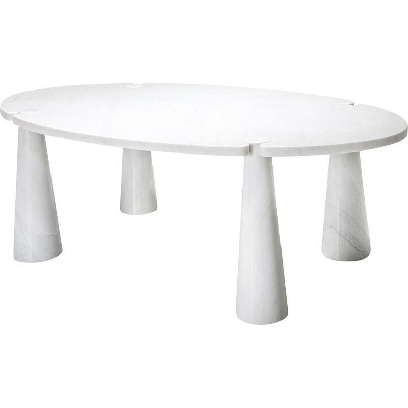 Vintage Carrara Marble Dining Table by Angelo Mangiarotti 1970s