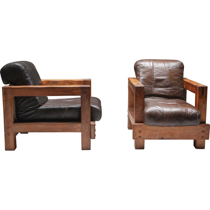 Pair of Midcentury Wooden Lounge Chairs 1960s
