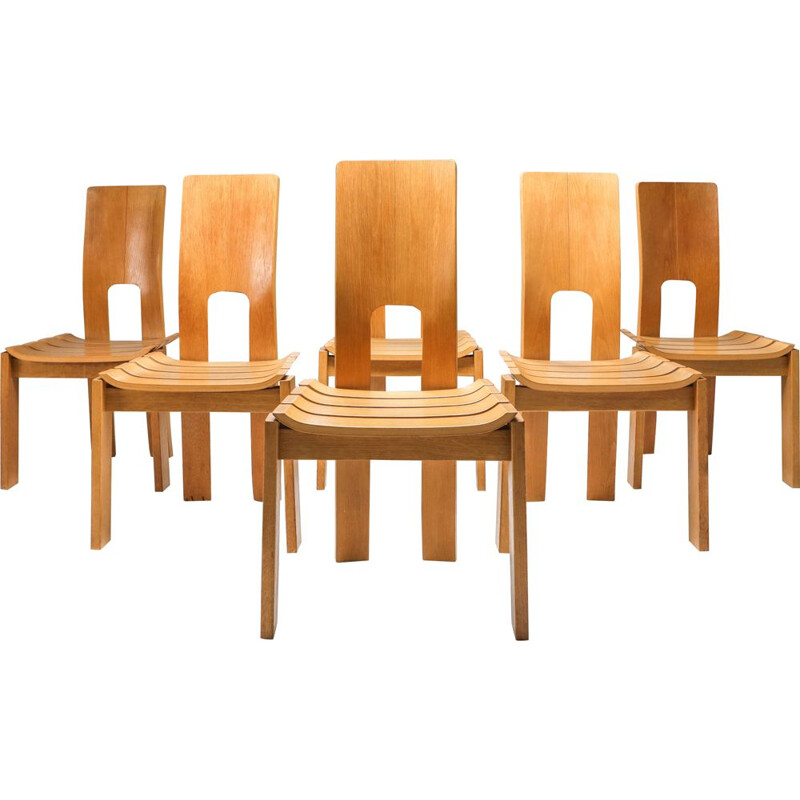 Set of 6 vintage Dining Chairs, Scandinavian 1970s