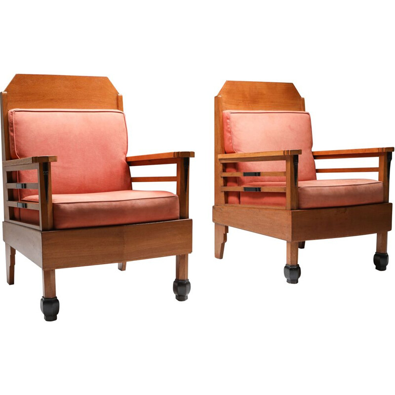 Pair of vintage Club Chairs Art Deco  Europe 1960s