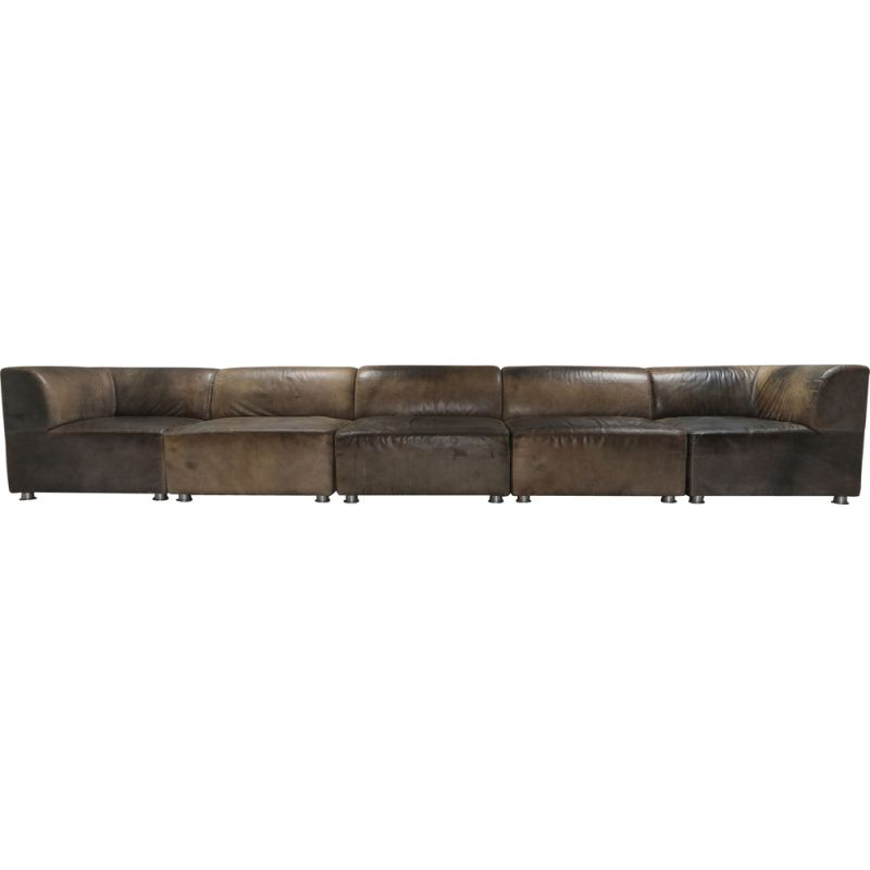 Vintage Sectional Corner Sofa in Patinated Leather for Durlet 1980s