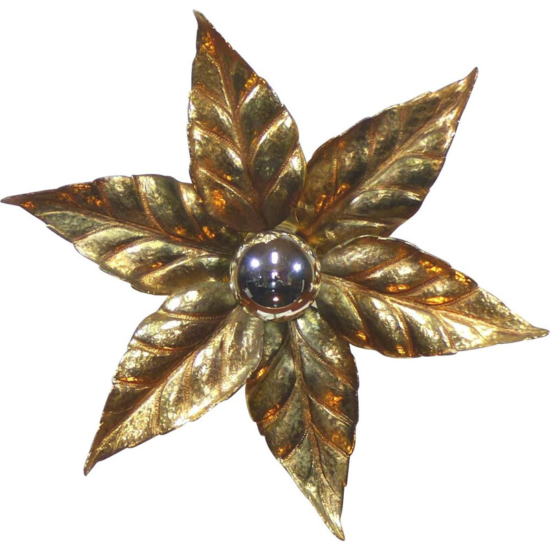 Vintage solid brass flower wall light 1970s