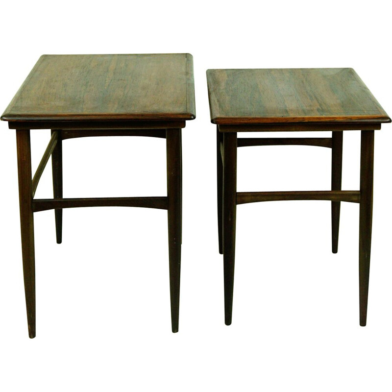 Pair of vintage Rosewood Nesting Tables by Poul Hundevad Danish 1960s