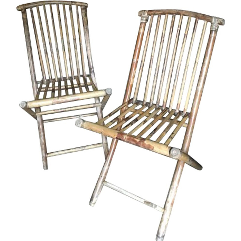 Pair of vintage bamboo folding chairs 1970