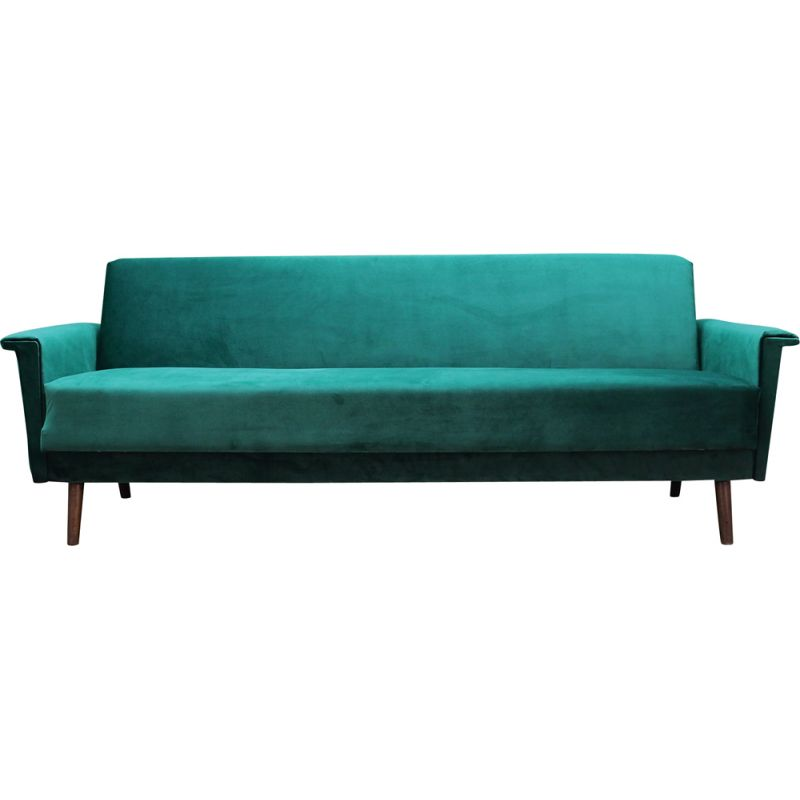 Vintage green velvet sofa, Danish 1970