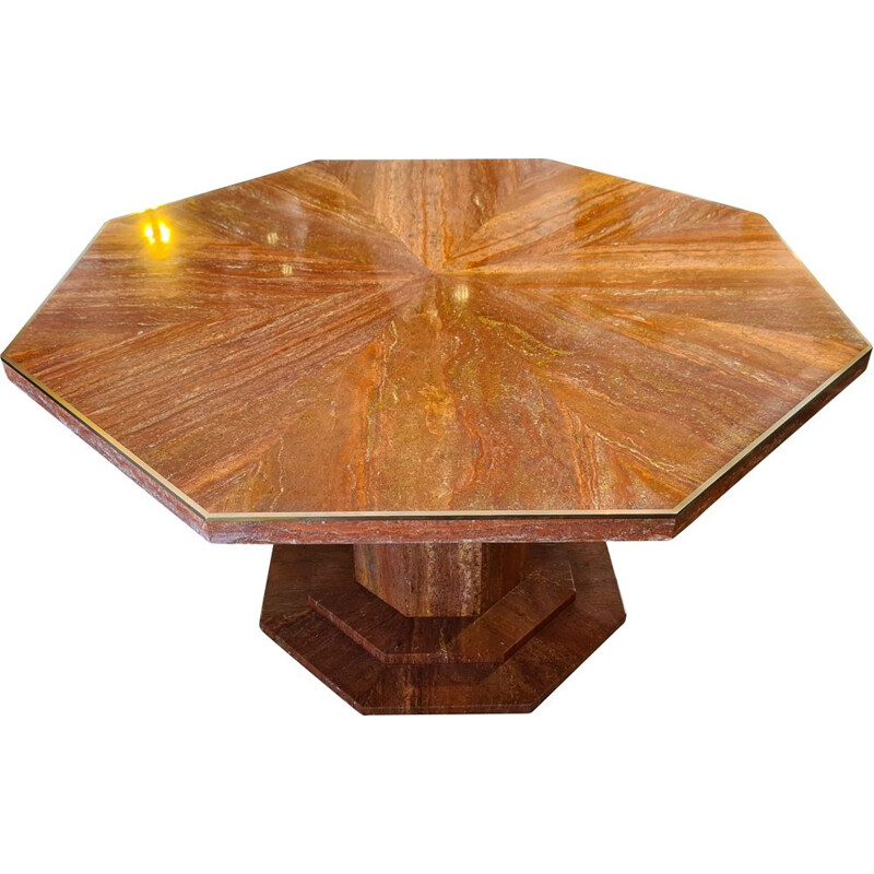Vintage octagonal table in red travertine and brass 1970