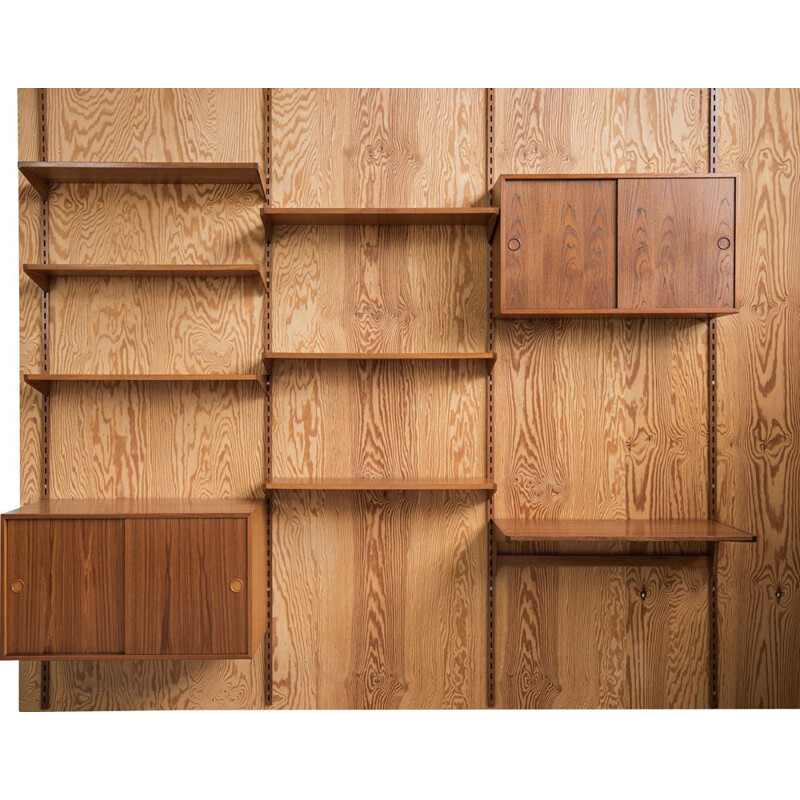 Vintage teak wall unit by Kai Kristiansen for FM, Denmark 1960