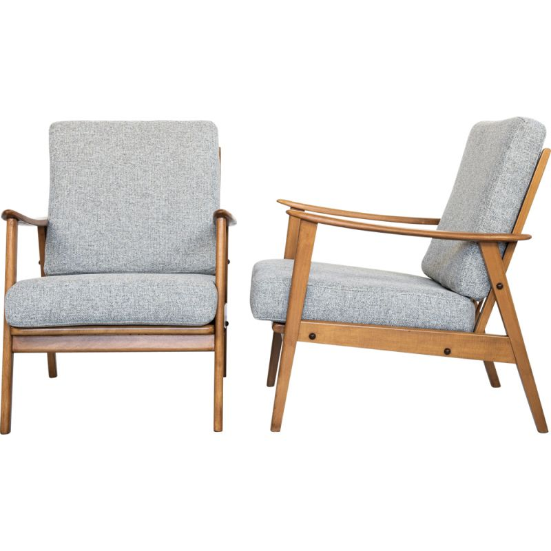Pair of vintage armchairs in solid beech wood and grey fabric, Denmark 1960