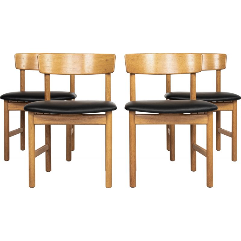 Set of 4 vintage chairs by Børge Mogensen for Fredericia, Dane 1960