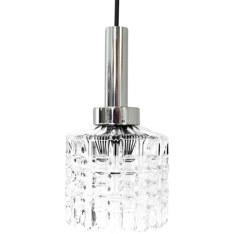 Vintage pendant lamp in glass and chrome 1960