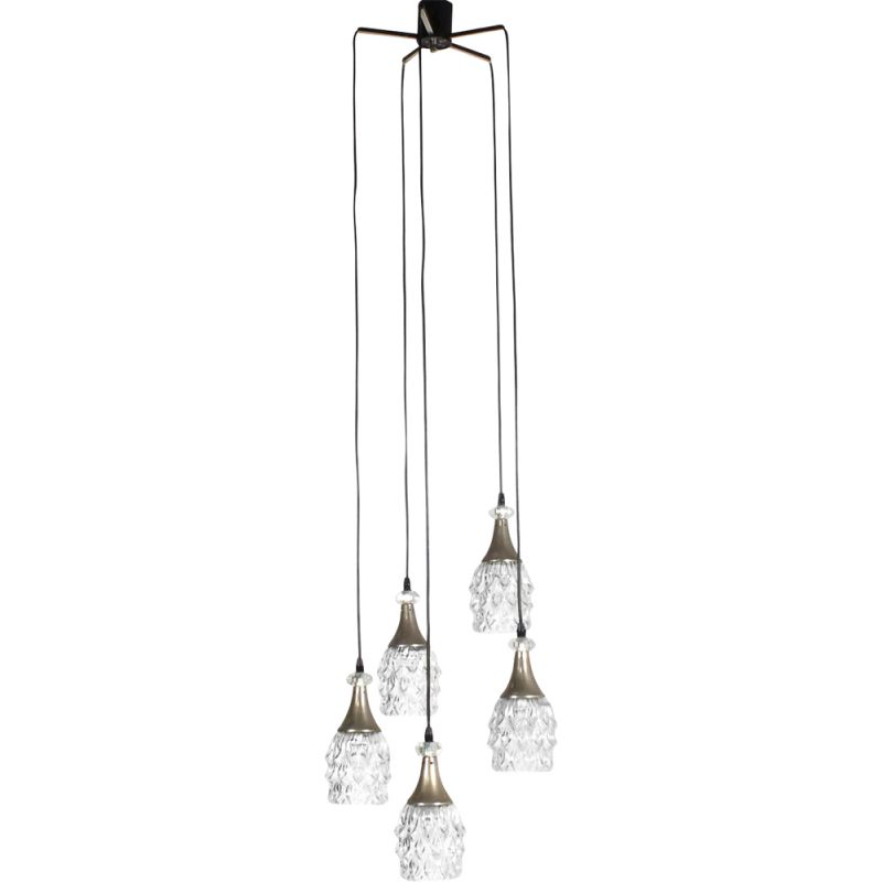 Vintage chandelier with five molded glass shades 1960