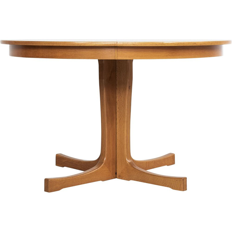 Vintage round oak extensible dining table, Denmark 1960