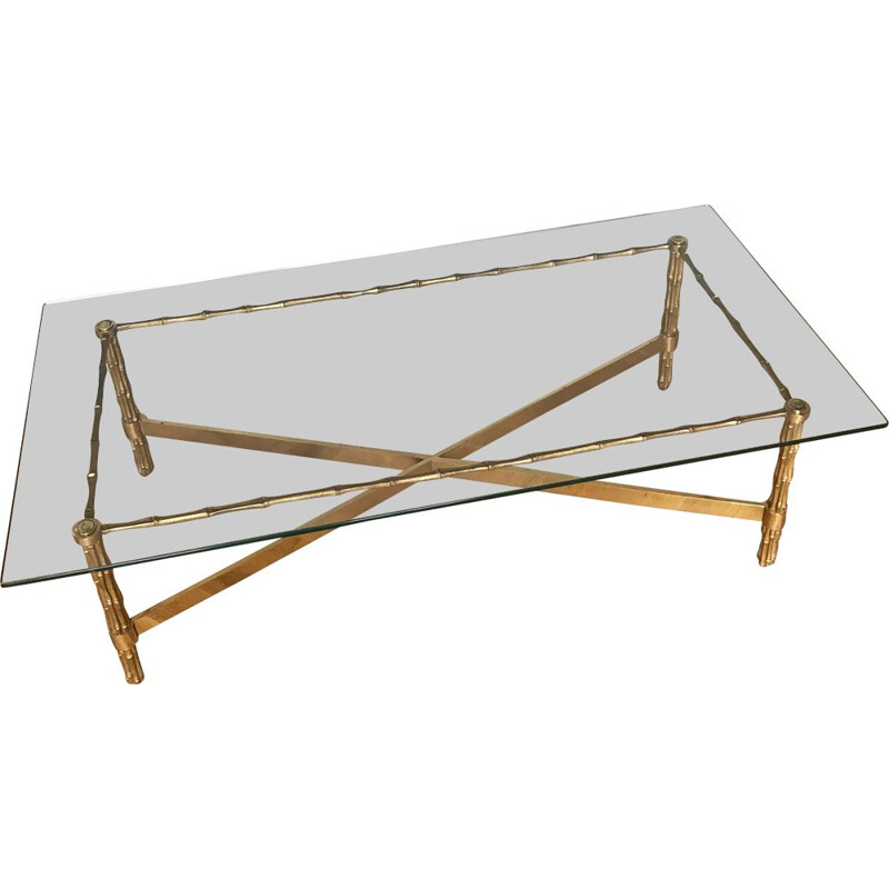 Vintage coffee table in bronze and glass