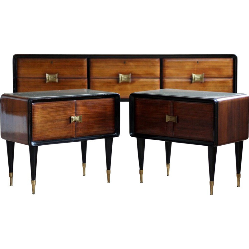 Set of enfilade and bedside tables, Vittorio Dassi 1950