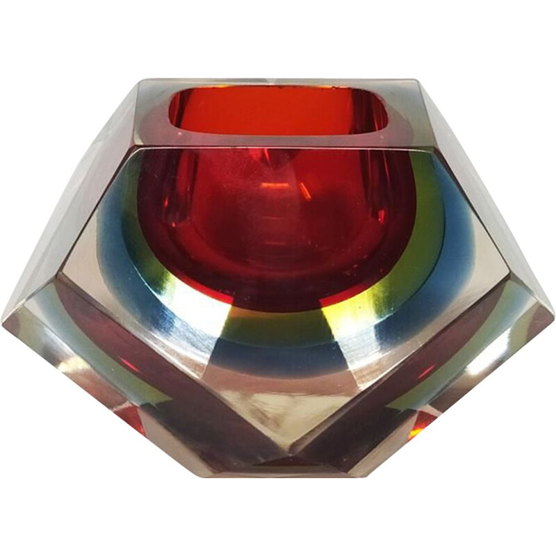 Vintage red ashtray by Flavio Poli for Seguso 1960
