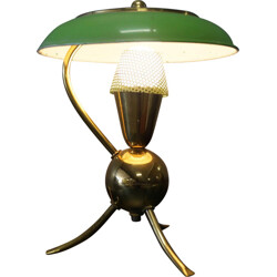 Green table lamp with tripod legs in brass - 1950s