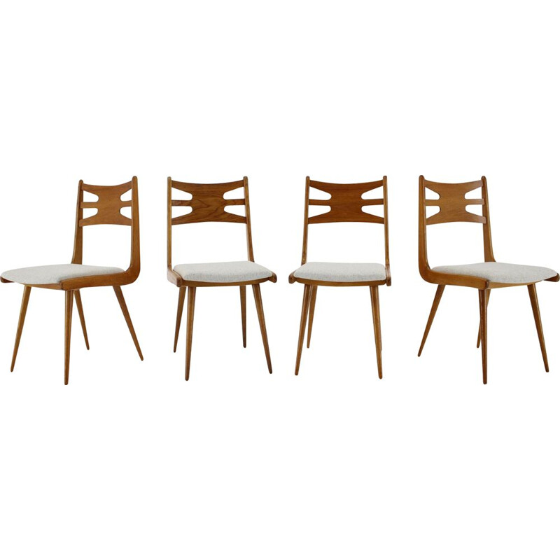 Set of 4 vintage Oak Dining Chairs, Czechoslovakia 1960s