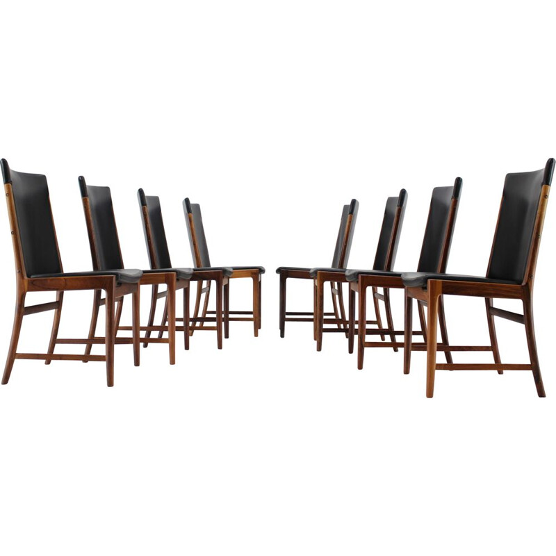 Set of 8 vintage Palisander Leather Dining Chairs Kai Lyngfelt-Larsen 1960s