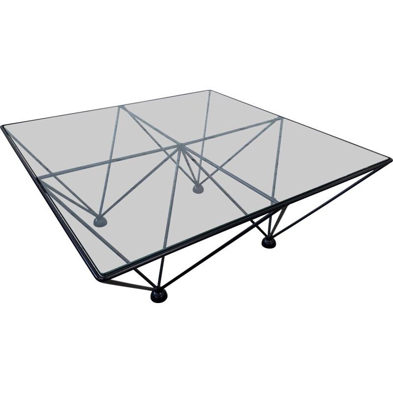 Vintage coffee table steel and glass