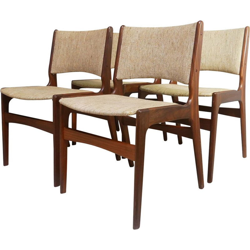 Set of 4 vintage dining chairs by Dyrlund Danish 1960s