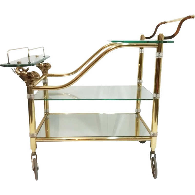 Vintage Brass and Glass Trolley with Elephant Heads Hollywood Regency 1970s