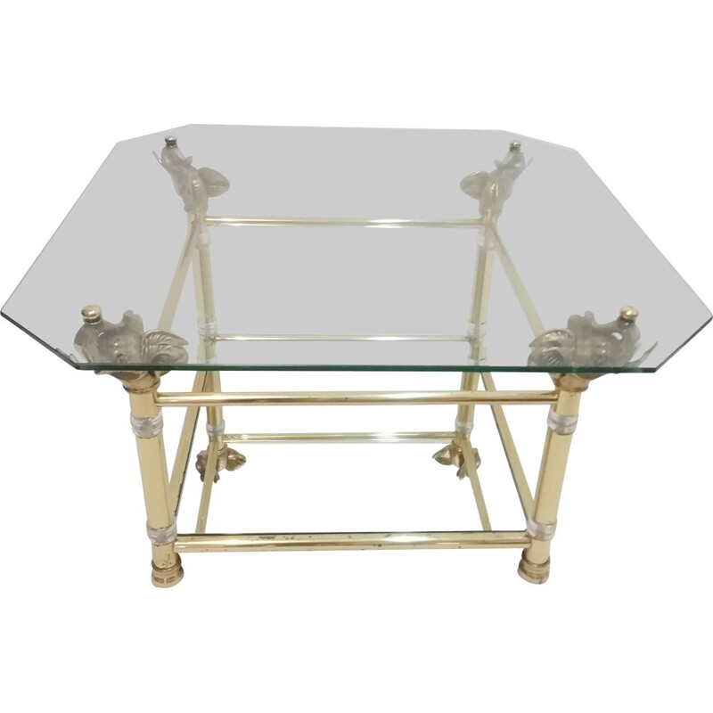 Vintage Brass and Glass Coffee Table with Elephant Heads Hollywood Regency 1970s