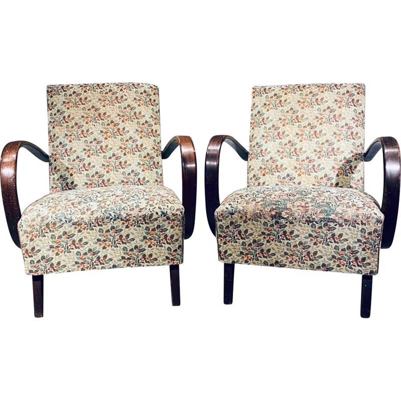 Pair Of vintage Armchairs Halabala H 227 Art Deco