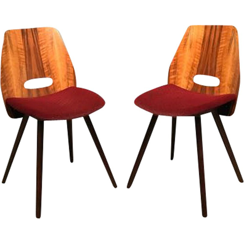 Pair Of vintage Chairs Designed By F. Jirak Tatra Nabytok