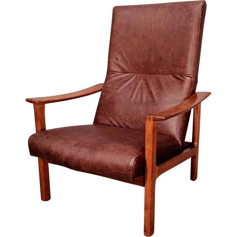 Vintage Leather And Teak Club Chair From Bröderna Andersson, 1960s