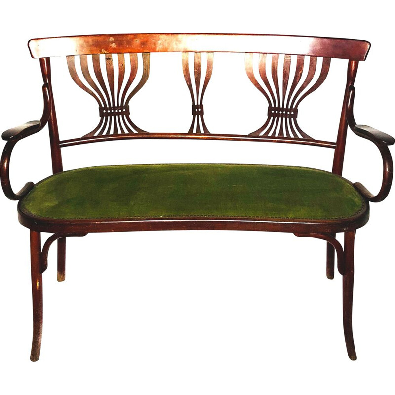 Vintage Fischel Thonet fabric bench