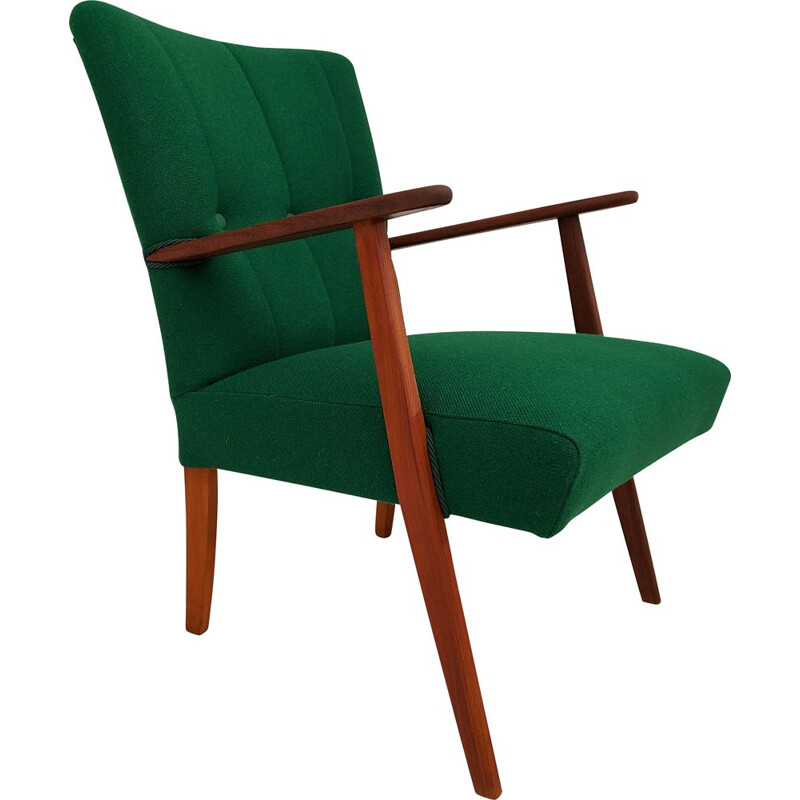 Vintage armchair Kvadrat wool, teak wood Danish 1960s