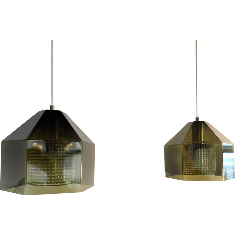Pair of vintage hexagon pendant lamps by Carl Fagerlund for Orrefors, Sweden 1960s