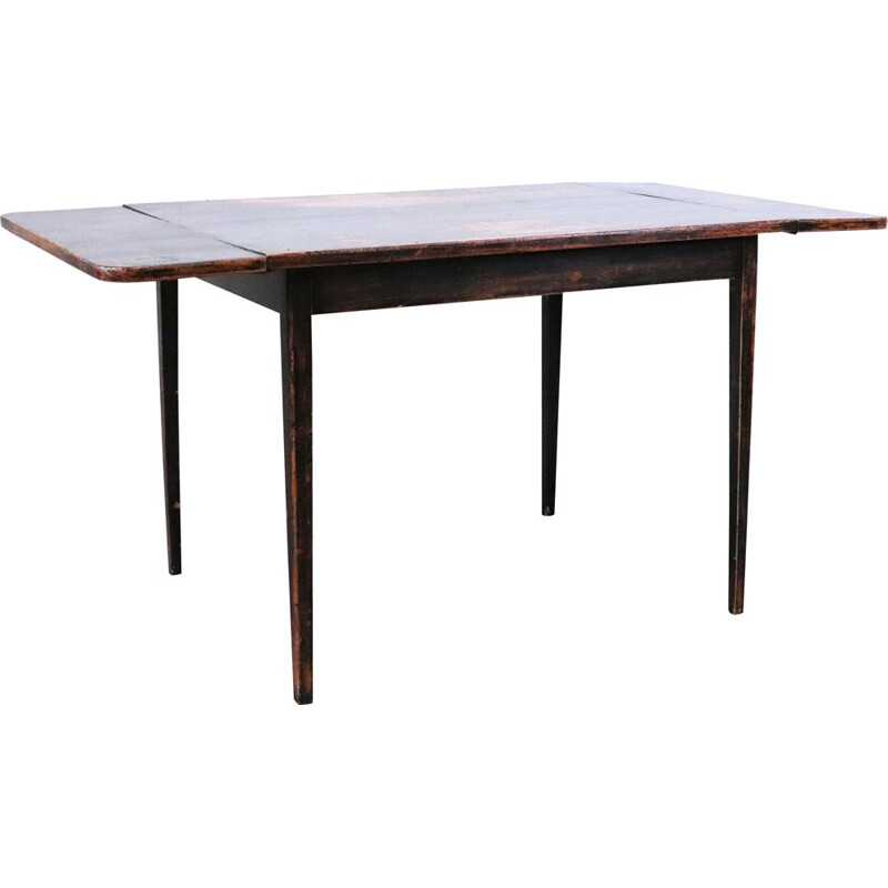 Vintage wooden dining table with wings, Sweden 1960