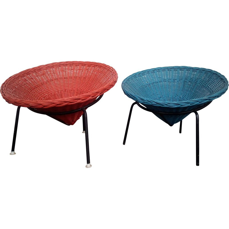 Pair of vintage wicker chairs in red and blue swedish 1960