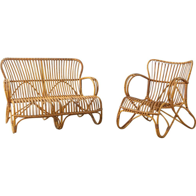 Vintage Bamboo Seating Group 1950s