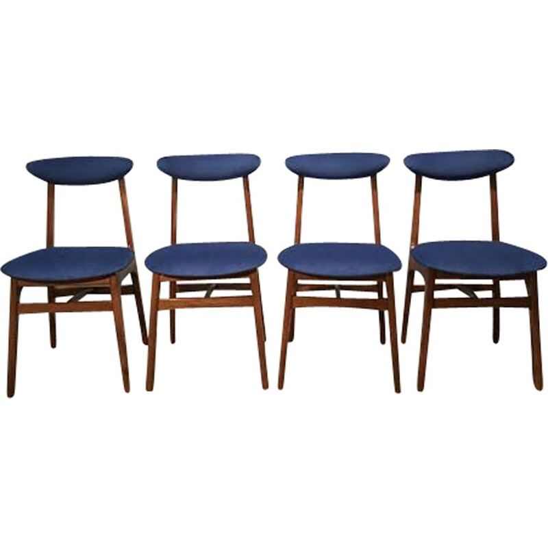 Set of 4 Vintage Chairs By R. Hałas 1960