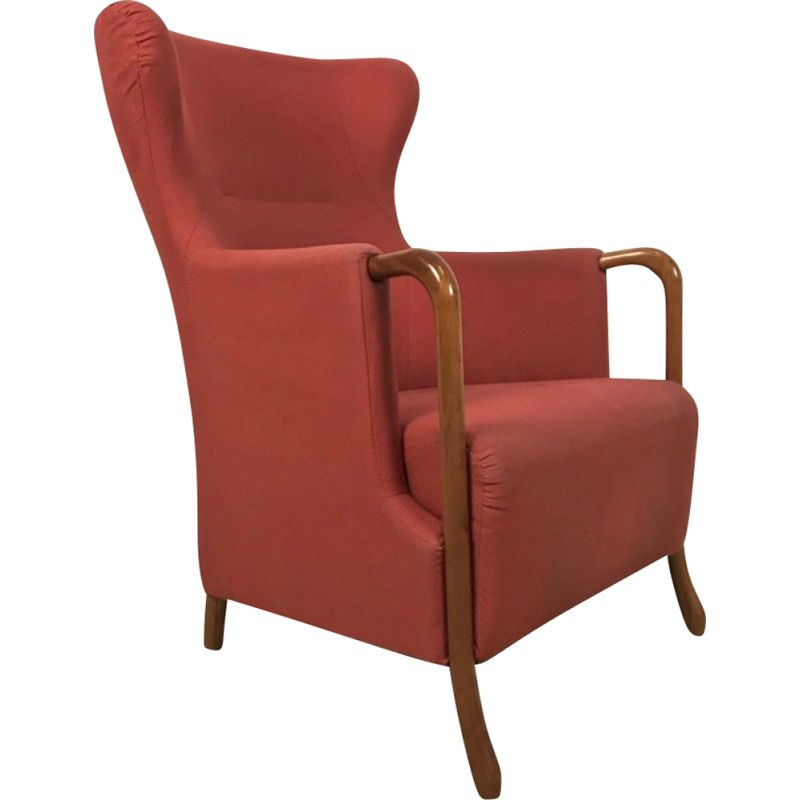 Vintage  Armchair In Red Stately Giorgetti