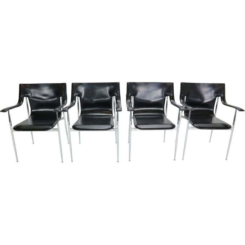 Set of 4 vintage Chairs for Fasem, Giancarlo Vegni & Gianfranco Gualtierotti Italy