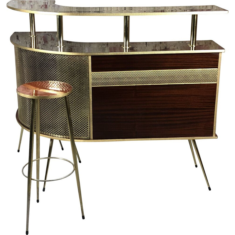 Vintage Cocktail bar in formica and golden brass 14 turn 1950