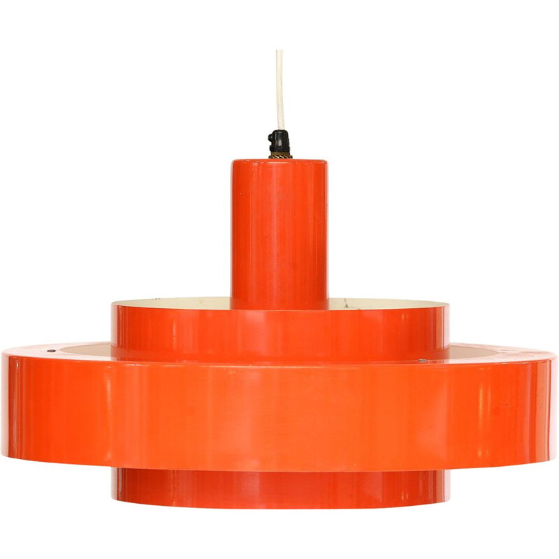 "Vintage light pendant ""Equator"" in orange by Jo Hammerborg for Fog & Mørup, Denmark 1960"
