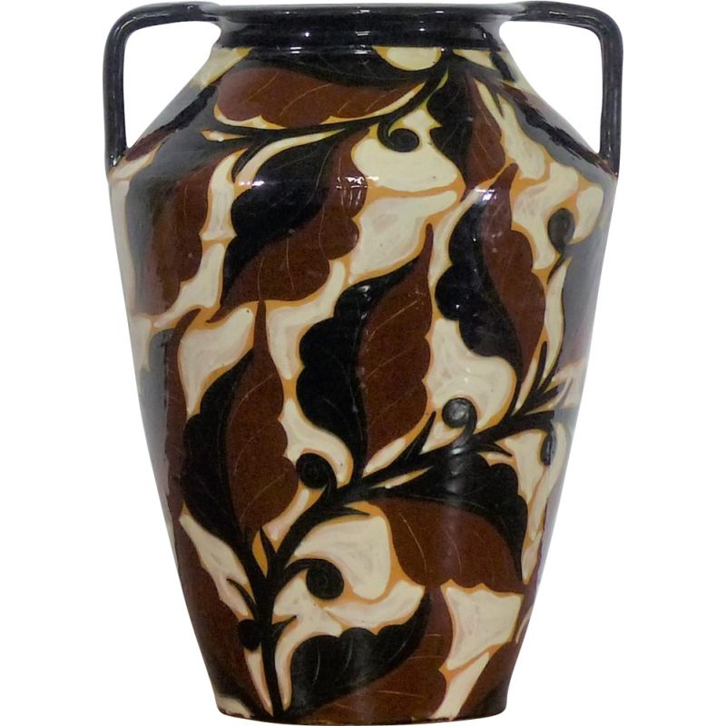Vintage enamelled ceramic vase, Art Deco