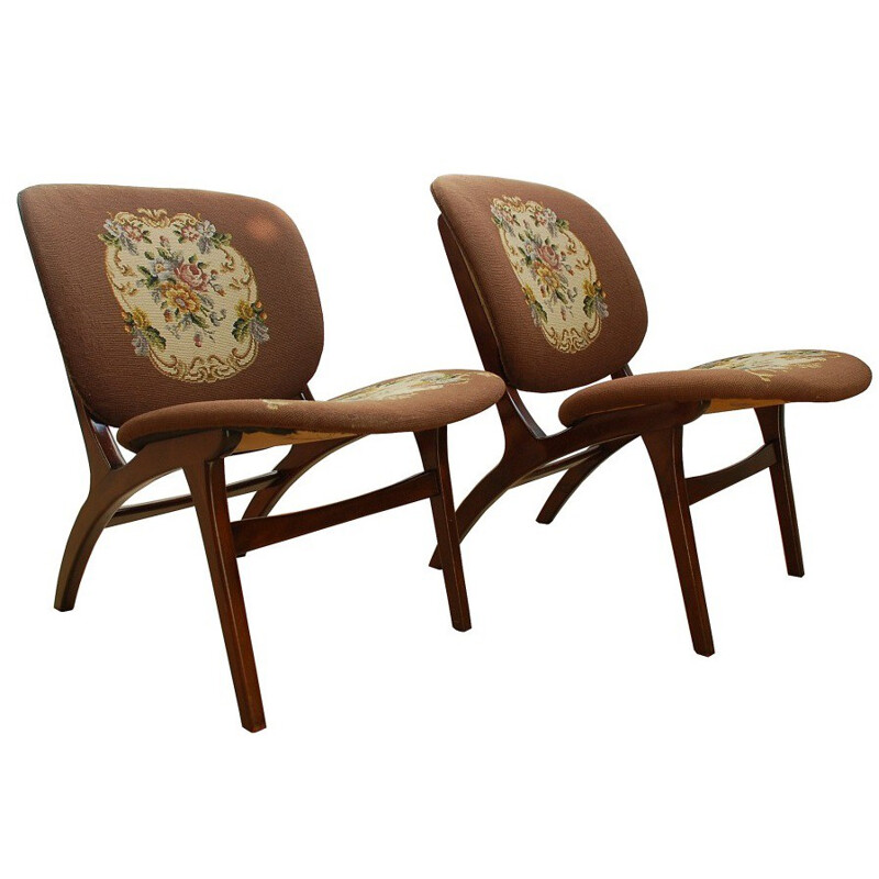 Set of 2 Danish shell chairs - 1960s