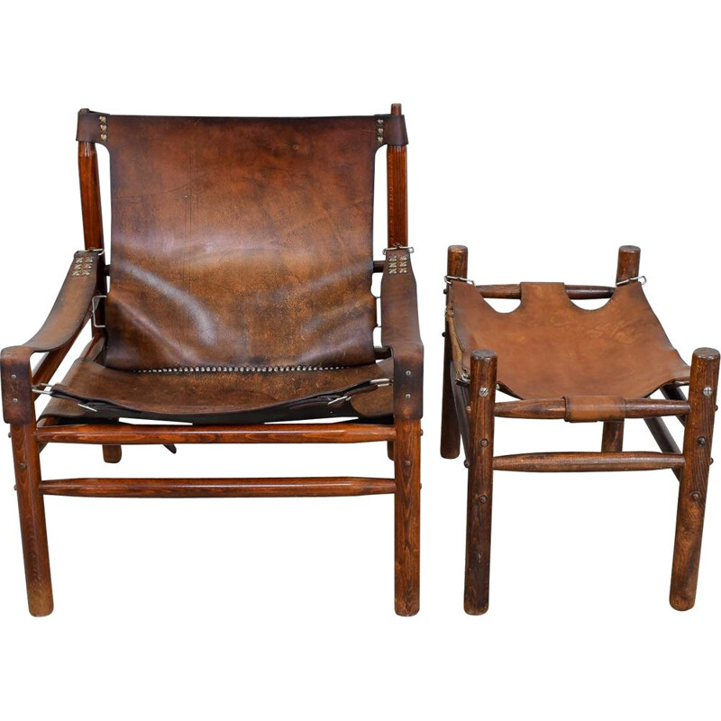 Vintage Leather Safari Lounge Chair with Ottoman