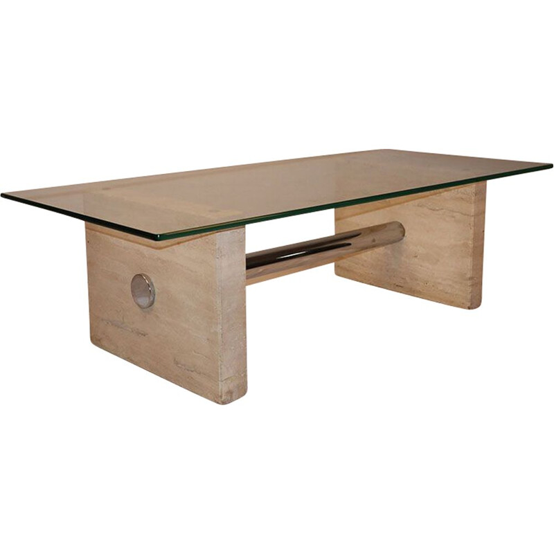Vintage coffee table in travertine and glass 1970