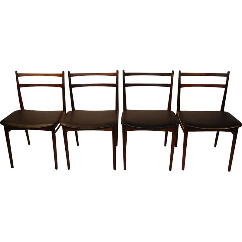 Set of 4 vintage chairs by Henry Rosengren Hansen scandinavian 1960